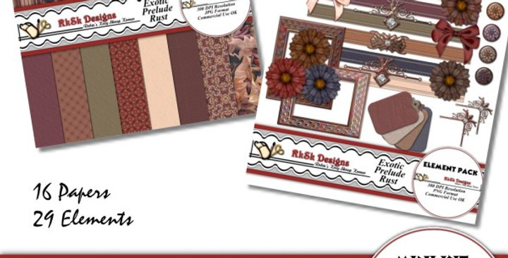 Exotic Prelude Rust Mini Scrapbooking Kit