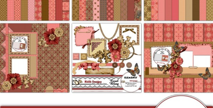 Coral Bling Digital Scrapbooking Kit