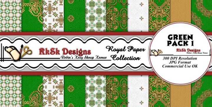 Green Royal Digital Scrapbooking Paper Pk