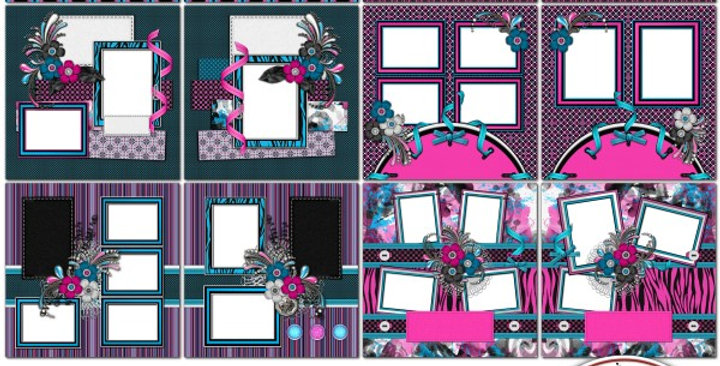 RkSkDesigns Totally Zebra SIAS Album 3 Digital Scrapbooking