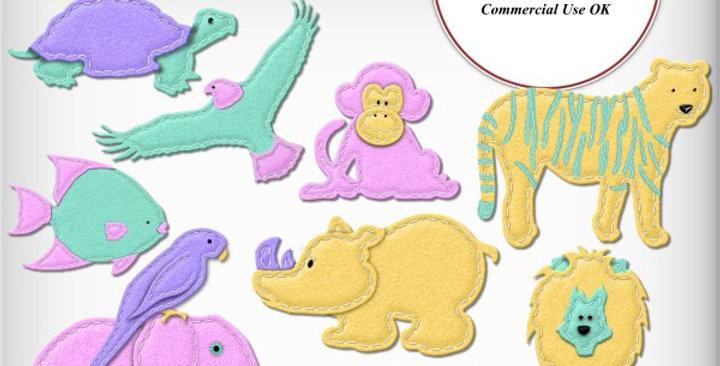 Felt Stitched Zoo Animals Scrapbooking Kit