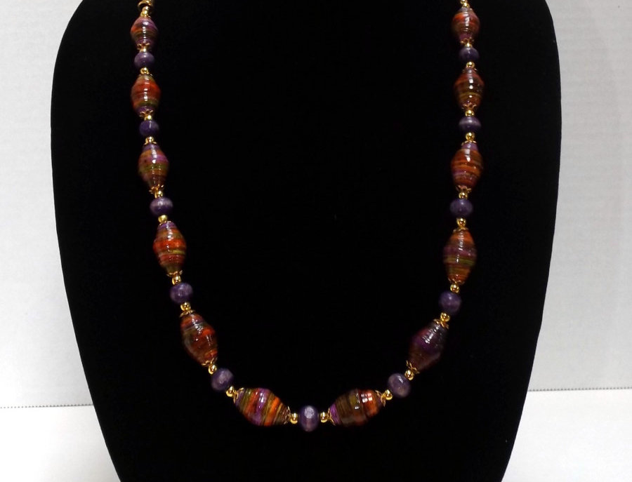 Paper Bead Purple/Rust Jewelry Set/Necklace