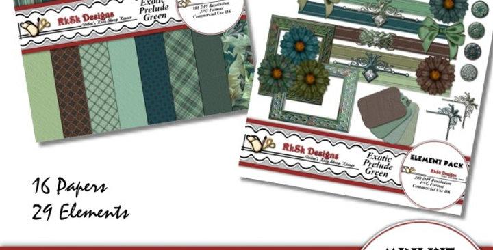 Exotic Prelude Green Mini Scrapbooking Kit