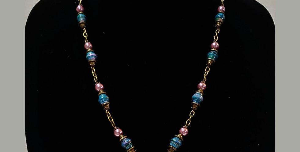Paper Bead Dk Aqua Antique Gold Jewelry Set/Necklace
