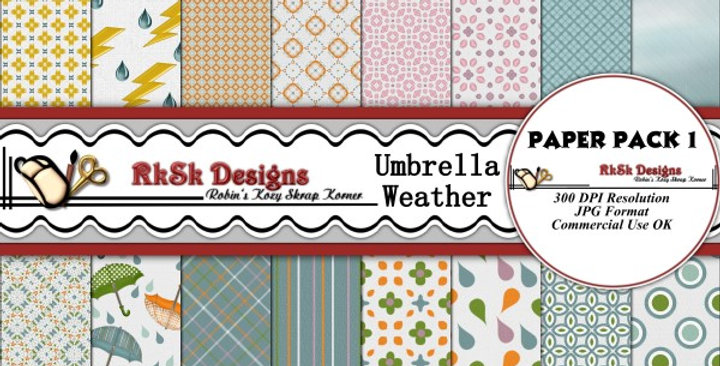 Umbrella Weather Paper Pk 1 Scrapbooking Kit
