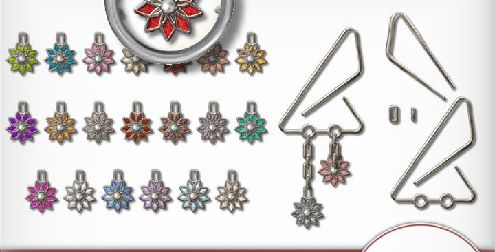 Silver Clip with Flowers Scrapbooking Kit