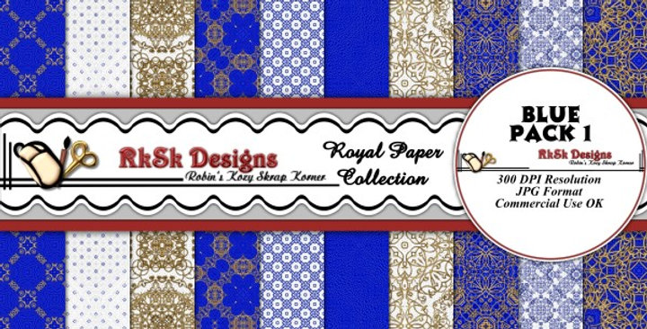 Blue Royal Digital Scrapbooking Paper Pk