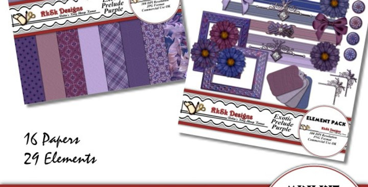 Exotic Prelude Purple Mini Scrapbooking Kit