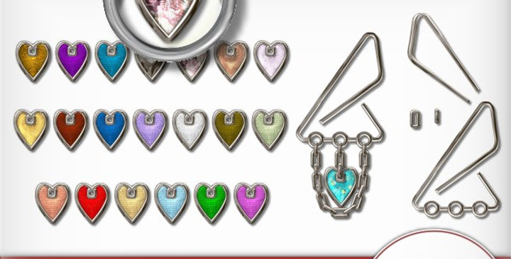 Silver Clip with Hearts Scrapbooking Kit