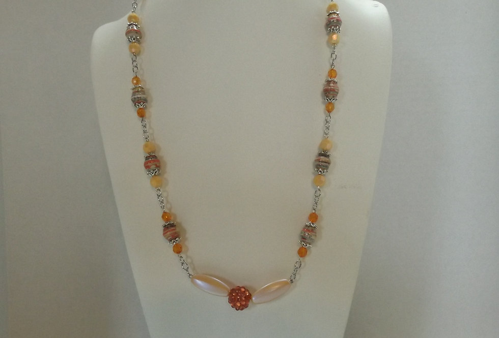 Paper Bead Orange/Peach Necklace