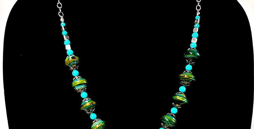 Paper Bead Turquoise/Green Jewelry Set/Necklace