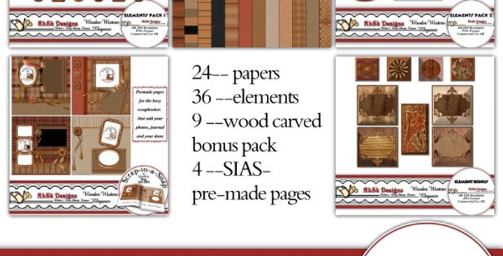Wooden Western Elegance Digital Scrapbooking Kit