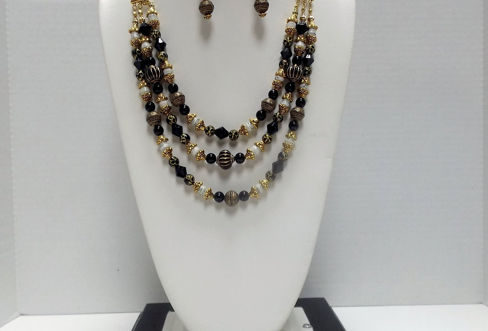 Paper Bead Black and Gold 3 Tier Cascading Necklace