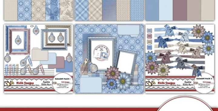 Satin Stitches Digital Scrapbooking Kit