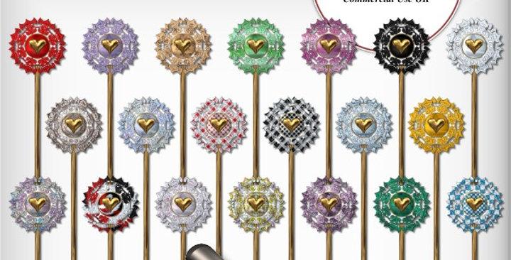Gold  Heart Stickpins Scrapbooking Kit