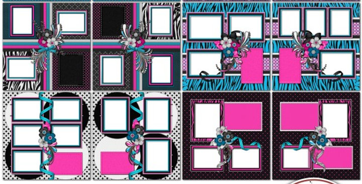 RkSkDesigns Totally Zebra SIAS Album 2 Digital Scrapbooking