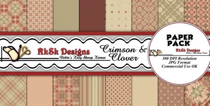 Crimson & Clover Digital Scrapbooking Paper Pk
