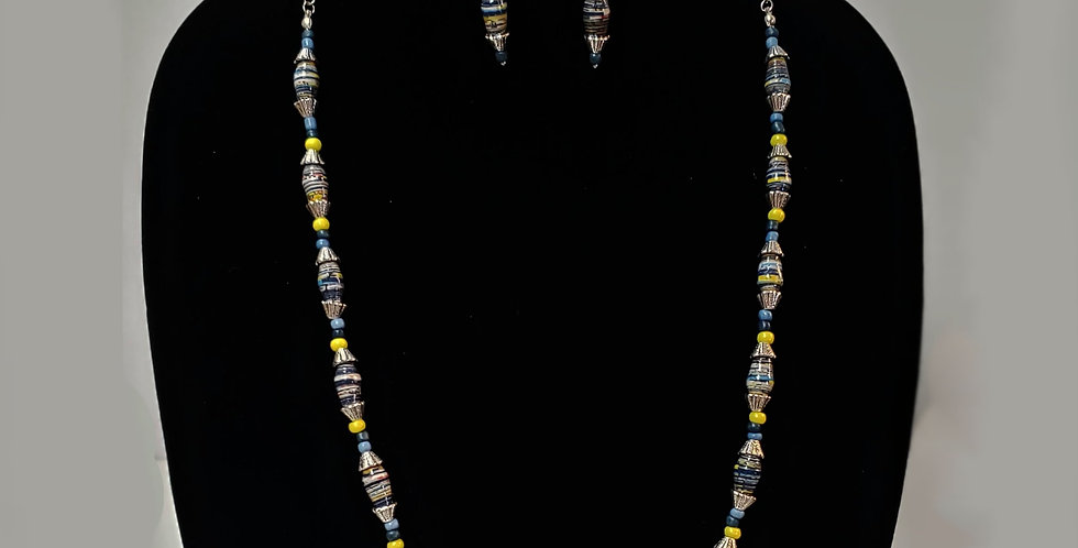Paper Bead Yellow Blue Jewelry  Set/Necklace