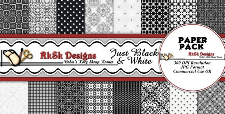 Just Black & White  Digital Scrapbooking Paper Pk