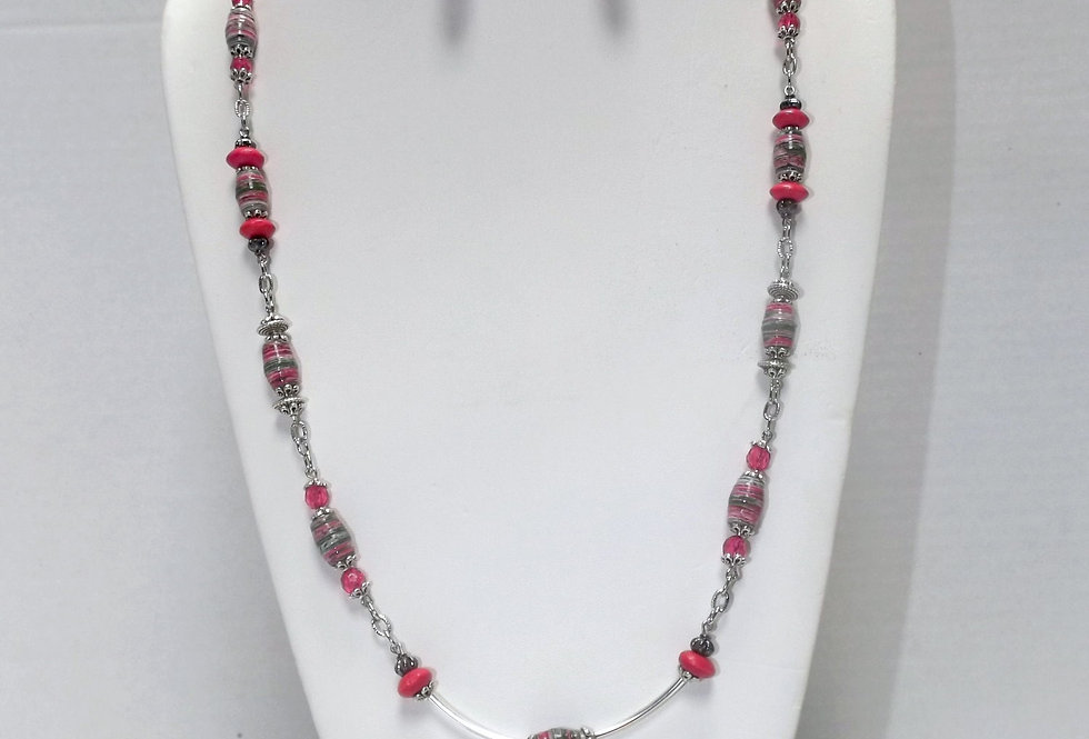 Paper Bead Pink and Green Necklace/Earring Set
