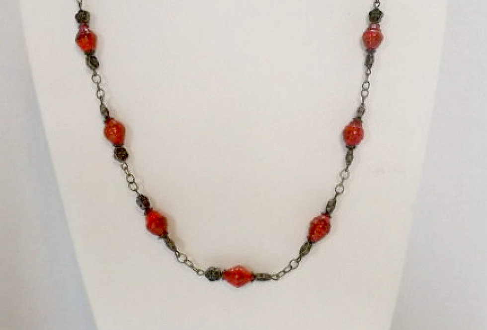 Paper Bead Red Necklace/Bracelet/Earring Set
