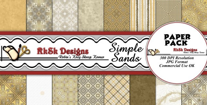 Simple Sands Digital Scrapbooking Paper Pk