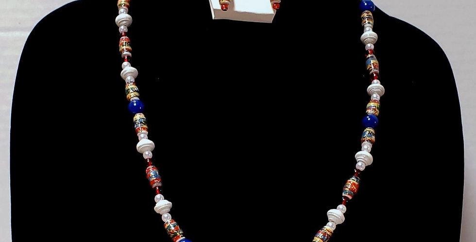 Paper Bead Patriotic Jewelry Set/Necklace