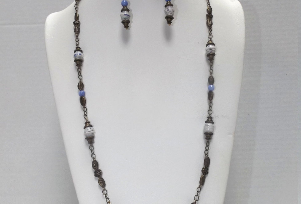 Paper Bead Periwinkle Necklace/Earring Set