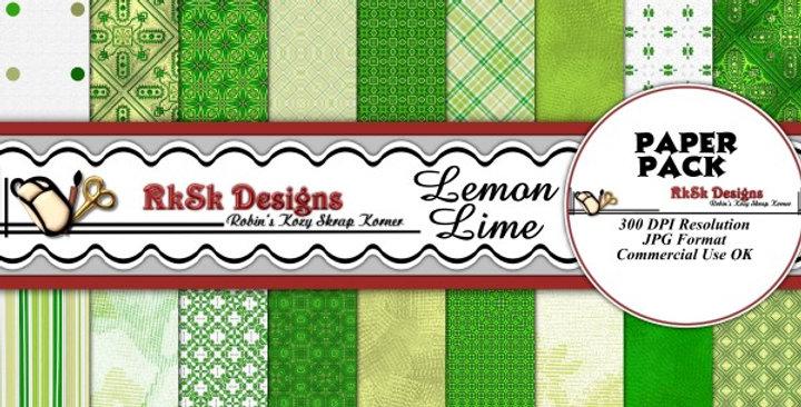 Lemon Lime Digital Scrapbooking Paper Pk