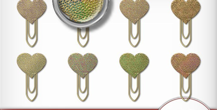 Gold Dotted Heart Clips Scrapbooking Kit