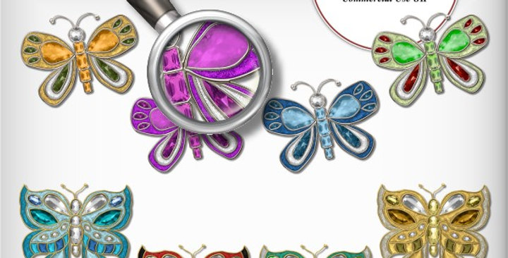 Whimsical Gemmed Butterflies Scrapbooking Kit