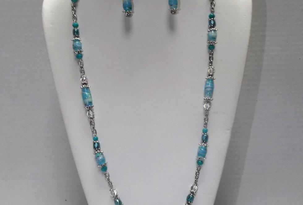 Paper Bead Aqua Necklace/Earring Set