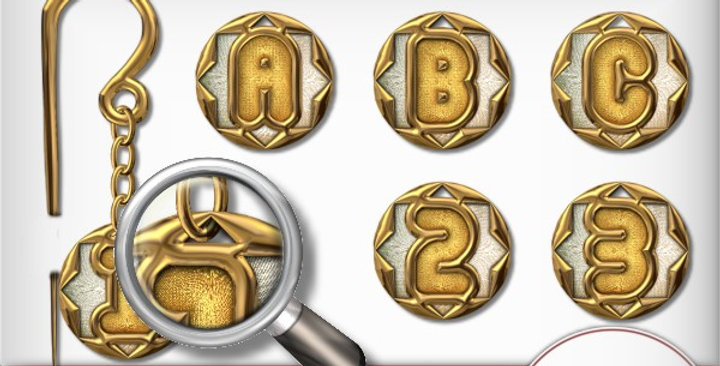 Gold Charms and Pin set Scrapbooking Kit