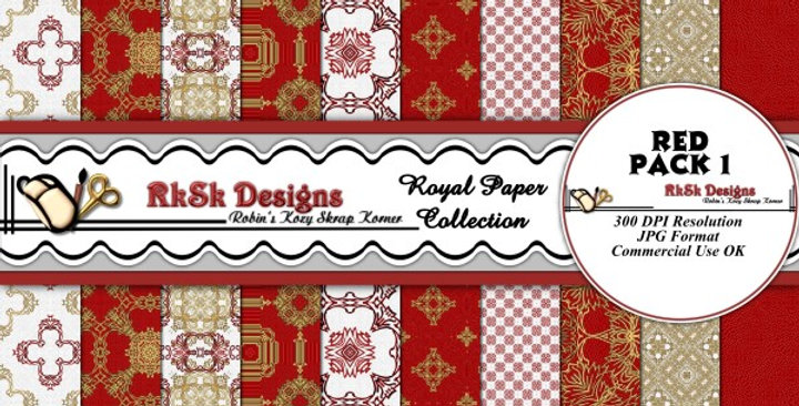 Red Royal Digital Scrapbooking Paper Pk