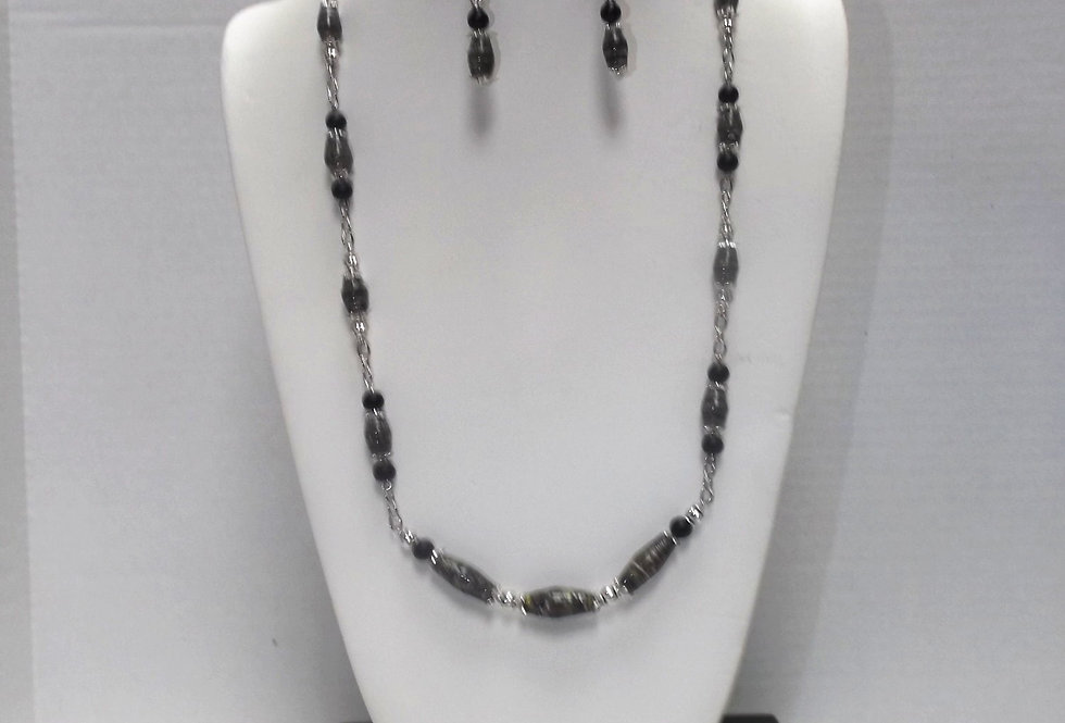 Paper Bead Dk Green Necklace/Earring Set