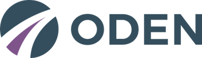 Logo for ODEN - letters and circle.