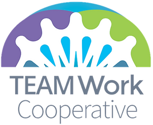 Logo for TeamWork Cooperative - people holding hands.