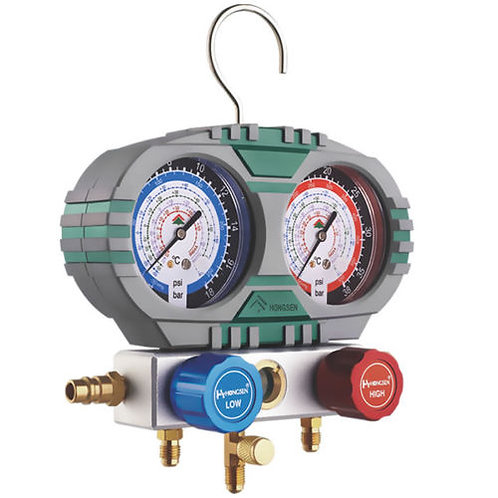Aluminum Alloy Manifold Gauge w/Cover HS-S60-101 With 5' Hoses R134a, R404A, R22