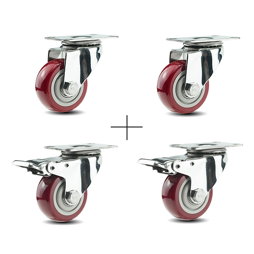 Set of 4 Heavy duty (2 With Brakes,2 Swivels) Casters
