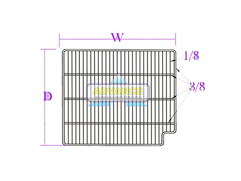 Wire Shelf 28-3/8 x 24-5/8 Right Cut 3T-Bar Out