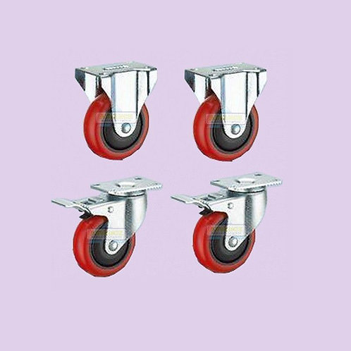 Set of 4 (2 Brakes 2 w/Out) Casters Screw-On Flat