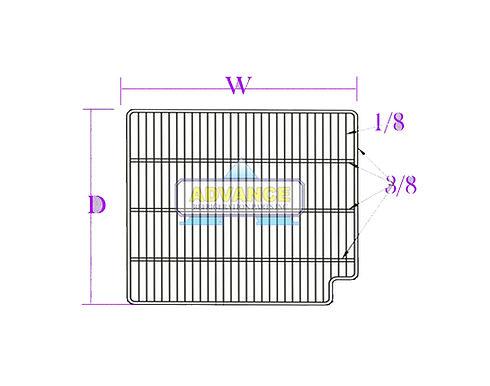 Wire Shelf 33-1/4 x 24-5/8 Right Cut 3T-Bar