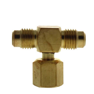 """SF9603--TEE BRASS, 1/4""""M. FLARE X 1/4"""" M. FLARE X F. FLARE ON BRANCH"""