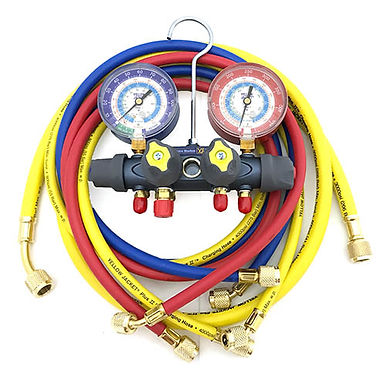 """Yellow Jacket 49987 Titan Test and Charging Manifold, 4-Valve with 60"""" Hoses"""