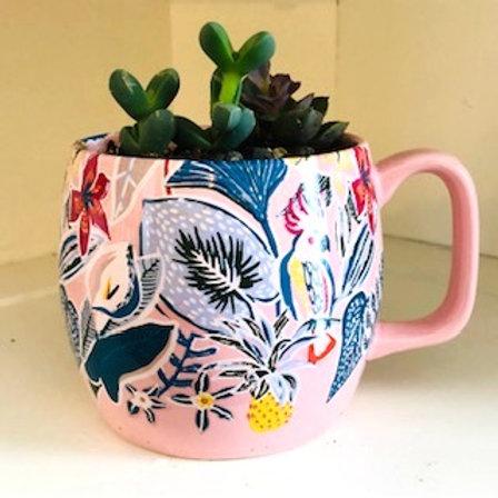 Succulent Mug-Pink Flowers