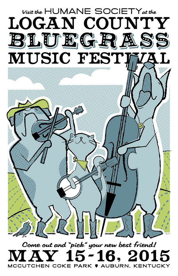 Logan County Humane Society Bluegrass Music Festival Poster with Dogs and a Cat