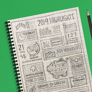 Sketchbook with pencil sketches for Atlanta Hospital Hospitality House 2019 Highligts
