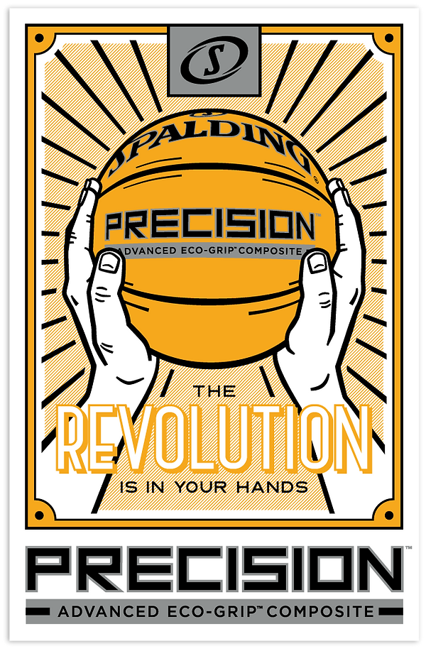 Spalding Precision basketball poster - two hands holding basketball