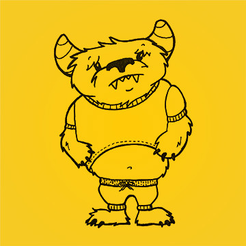 Illustration of a sad, furry monster wearing a shirt and sweatpants that he has outgrown.