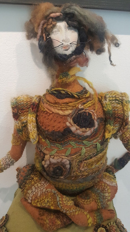 "OOAK  fiber art doll ""Yoga Kitty"" Katie Gardenia"